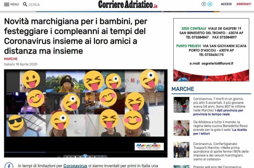 Articolo di giornale compleanni online Maracaibo feste durante quarantena bambini adolescenti rit 2